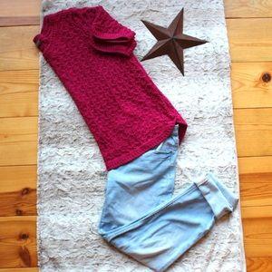 Denver Hayes Crochet Fushia Short Sleeve Sweater